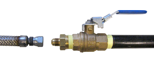 Shutoff valve and male  pipe tee